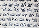 Authentic Kids 3pc Sheet Set Construction Vehicles Back Hoes Dump Trucks Cement Mixers Dark Blue Line Drawing on White (Twin)