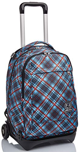 Trolley New Tech Invicta , Tartan, Blu, 3 in 1 Zaino Sganciabile