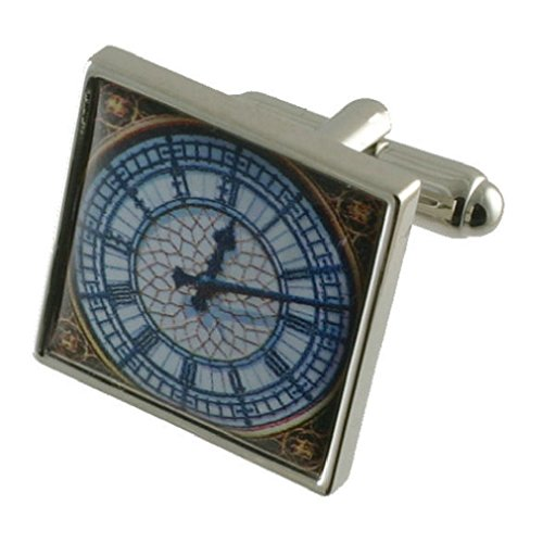 Temps Big Ben Horloge Boutons de manchette pour homme en argent sterling 925 massif Boutons de manchette + Boîte de message gravé personnalisé