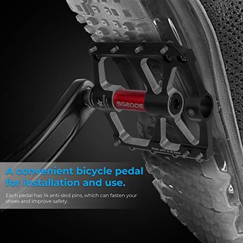 SGODDE Metall Fahrrad Pedale, Mountainbike Fahrradpedale Rennrad Pedale MTB Pedale mit mit Aluminiumlegierung Platform,Pedale Trekking Pedale Fahrrad mit Achsendurchmesser 9/16 Zoll (Schwarz) - 6