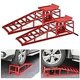 2 Pcs Heavy Duty Auto Car Truck Service Ramps Lifts, Portable Vehicle Ramps Hydraulic Lift for Car Repair, Jack Load 11000lb Capacity