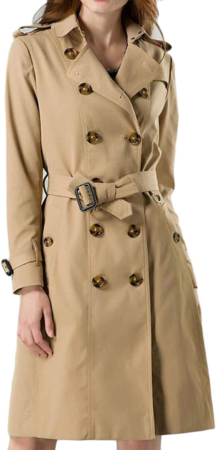 Sayhi Womens Waterproof Premium Lapel Double Breasted Trench Coat Overcoat