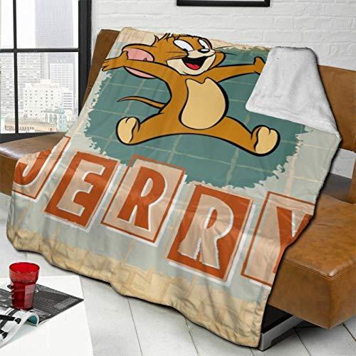 Caimizogojocrz Manta de forro polar suave y cálida de Tom Jerry con dibujos animados, de felpa, de doble tamaño, ultra suave, reversible, de franela para todas las estaciones.