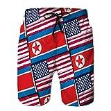 vbndfghjd 26 Pantalones Cortos de Playa para Hombre con Bolsillos de Secado rápido, Banderas o estandarte de EE. UU. Y Corea del Norte XXL