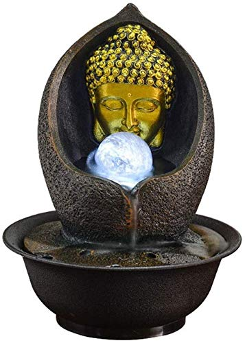 Living Equipment Zen Fuente de Agua de Mesa Escultura de Buda Dorado y Agua circulante Decoraciones de Interior para Dormir Relajación Meditación Adornos de Feng Shui Decoración de Fuente
