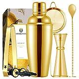 Homestia Gold Cocktail Shaker Set Bartender Kit Stainless Steel 24oz Martini Shaker, Muddle Spoon,...