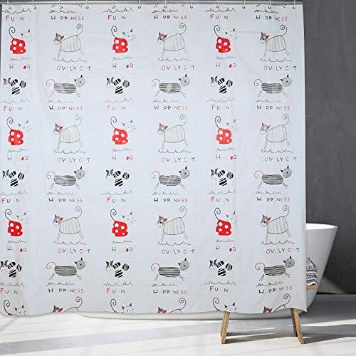 Katzen Duschvorhang, abstraktes Kätzchen mit Buchstaben, Badezimmerzubehör für Dekoration, Katzen Themen Geschenke für Frauen, Männer, Kinder, Mädchen & Katzenliebhaber.65x70OZoll