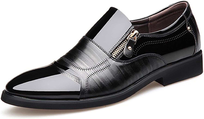 Easy Go Shopping Lederschuhe Herren Business Schuhe Glatt PU Leder Splice Zipper Dekoration Slip-on Atmungsaktive Mesh Oxfords