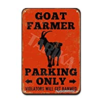 BALTER Goat Farmer Parking Only Violators Will Get Rammed Iron ティンサインアンティークプラークヴィンテージアルミニウム壁の装飾 Tin Sign Antique Plaque Vintage Aluminum for Wall Decor 8x12 Inch