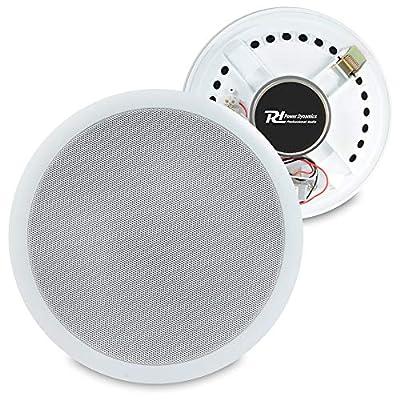"Power Dynamics Pair White 100V Line 8"" Ceiling Speakers Home Office Bar Shop|PD CSPB8"