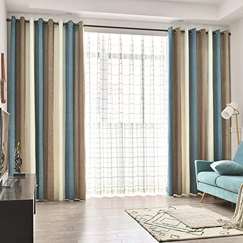Chenille Blackout Curtains Panels 84 Inches Long for Living Room Beige Blue Brown Stripes Colorful Room Darkening Cloth Thermal Insulated Grommet Curtains Drapes for Bedroom Window Treatment Set of 2