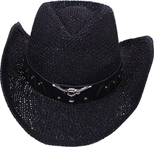 Simplicity Men / Women's Summer Woven Straw Cowboy Hat, 2042_Black