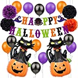 Decoración de Fiesta de Halloween Set Happy Halloween Balloons Banner, Bat, Pumpkin Ghost...
