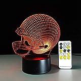 Casque De Rugby 7 Couleurs Changement Tactile Télécommande Led Lampe De Nuit Panneau Acrylique 3D Illusion Lune Lampe Enfants Cadeau Chambre Lampe Lumière