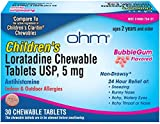 OHM Children's Chewable Tablets, Bubblegum Flavor, Non-Drowsy 24h Relief of Sneezing, Runny Nose, Itchy Watery Eyes, Itchy Throat or Nose, Antihistamine, Indoor & Outdoor Allergies, 5mg, 30 Tablets