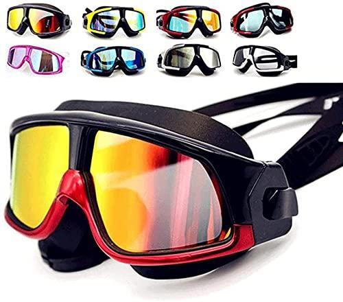 AIKJ Gafas de natación de silicona para natación con lentes antiniebla templadas gafas de esnórquel, máscara de buceo para buceo en seco, Swimming-Bovenste_zwart_es_onderrood-01