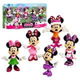 Minnie Mouse Disney Junior 3 Inch Tall Collectible Figure Set, 5 Piece Set Includes Tennis, Hula, Candy Maker, Popstar, and Ballerina Outfits