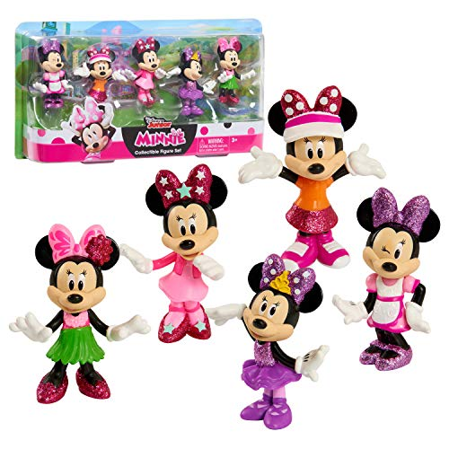 Disney Junior Minnie Mouse 3 Inch Tall Collectible Figure Set, 5 Piece Set Includes Tennis, Hula, Candy Maker, Popstar, and Ballerina Outfits