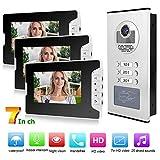 Videocitofono Video Door Phone, 3 unità Videocitofono per Appartamento da 7 Pollici Citofono Campanello per casa Suoneria Campanello Supporto Visione Notturna RFID, Blocco elettronic (Unione Europea)