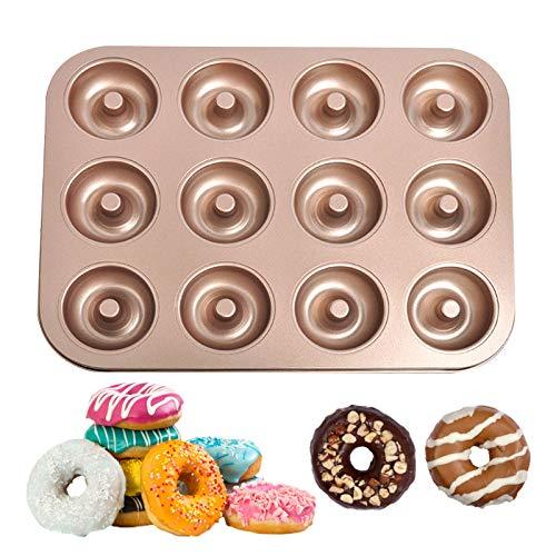 Donut Backform Kuchenform für Donut, Donut Formen 12 Löcher Antihaft Metall Backblech Backform, Antihaftbeschichtet, Standardgröße, kurze Backzeit