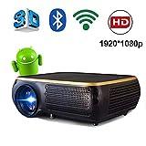 HD-Projektor 1920 * 1080P Intelligenter WIFI-Projektor 200 '' LED-Projektor 5000 Lumen Mit Zwei Lautsprechern Smartphone-Bildschirm Synchronisieren Kompatibel Mit PS4 HDMI VGA AV Und USB,Schwarz