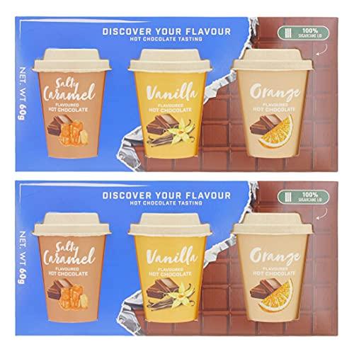 2 Stück Geschenksets Heiße Schokolade 3-teilig - jedes Set mit 3 verschiedenen Kakao-Mischungen - Geschmack: gesalzenes Karamell, Vanille und Orange. - 6 x 20g