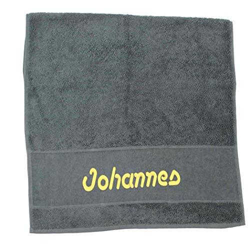 Premium Handtuch   Duschtuch   Saunatuch Porto aus Frottee, 500 g/m2 mit Namensbestickung   Bestickt mit Namen oder Wunschtext, Handtuchgröße:50 x 100 cm Handtuch, Handtuch Porto:Anthrazit