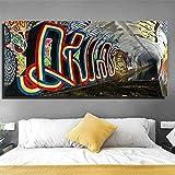 Hechuyue Túnel Calle Graffiti Pintura al óleo Paisaje Urbano Arte Cartel Arte decoración de la Pared Lienzo Imagen...