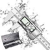 Calibre Digital, Qfun Pie de Rey 150mm/6Pulgadas Calibrador Profesional de Acero Inoxidable Impermeable con Gran Pantalla LCD, Precisión...