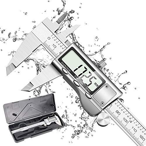 Calibre Digital, Qfun Pie de Rey 150mm/6Pulgadas Calibrador Profesional de Acero Inoxidable Impermeable con Gran Pantalla LCD, Precisión 0.01mm Medición de Diámetro Interior, Exterior, Profundidad