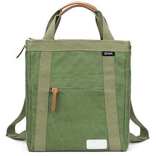"Tikea Canvas Backpack - Large School Bag Canvas Daypack Student Bookbag Commute Rucksack, 13"" W x 16"" H x 6"" D"
