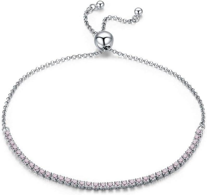 Youdert Bracelets 925 Sterling Silver Complete Free Shipping Rhinestone Bra Inlaid Pink Arlington Mall