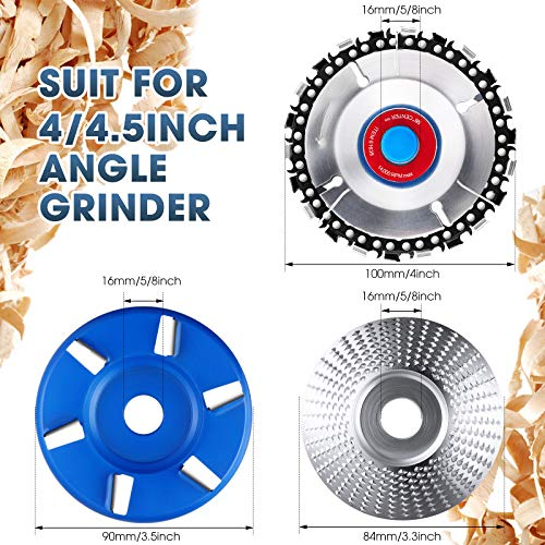 3 Pieces Wood Carving Disc Grinding Wheel Shaping Disc 6 Teeth Wood Turbo Carving Disc, 5/8 Inch Inner Diameter Angle Grinder Attachment for Wood Cutting Shaping Polishing