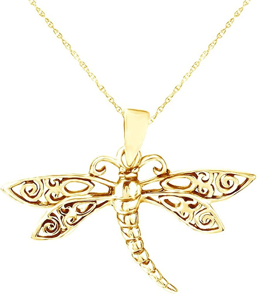 Swirl Max 63% OFF Filigree Wings Dragonfly Pendant Jacksonville Mall Gold 14K in Over Necklace