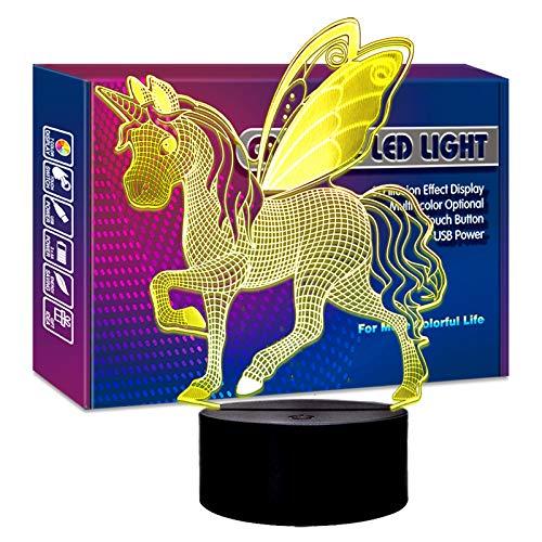 Einhorn-Nachtlicht – 3D-Einhorn-Illusions-Lampe, ideal zum Geburtstag für Einhorn-Liebhaber, mehrfarbige Lampe, Raumdekoration