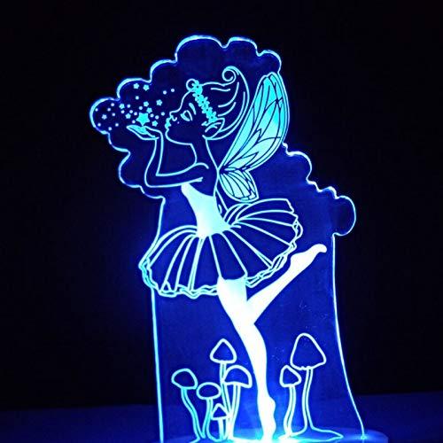 3D Tischlampe führte Nachtlicht visuelle bunte Engelslampe USB niedlich kreative Märchen Dekoration Geschenk