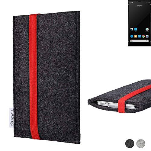 flat.design Handy Tasche Coimbra für Carbon 1 MKII passexakt Filz Schutz Hülle Hülle anthrazit rot fair