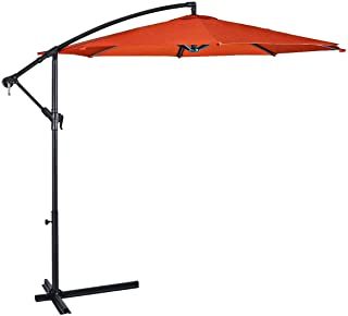 Lucky-gift - Orange 10' Patio Outdoor Sunshade Hanging Umbrella - Patio Outdoor Sunshade Hanging Offset Umbrella Shade - Outdoor Umbrellas Stand Heavy Covers Waterproof Uv Protecting Outside