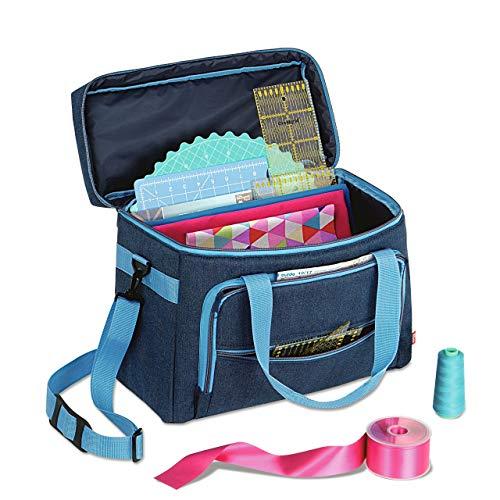 Prym 612634 Nähmaschinen-Tasche (Jeans/ türkis) ,44 x 20 x 35 cm, ungefüllt
