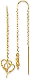 14k Yellow Gold Double Heart Tassel String Threader Earrings Drop Dangle Love Fine Jewelry For Women Gifts For Her