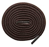 Round Boot Laces 2 Pair Heavy Duty and Durable Shoelaces- for Sneakers, Work Boots, Hiking Shoes Replacements (54 inches (137 cm), Brown)