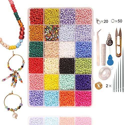 Jingli Mini cuentas de cristal coloridas, multiusos, para manualidades, joyas, pulseras hechas a mano