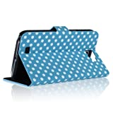 ZuGadgets Blue/Stylish Polka Dot Premium PU Leather Protective Skin Stand Case Cover Wallet for Samsung Galaxy Note II 2 N7100 (4291-4)