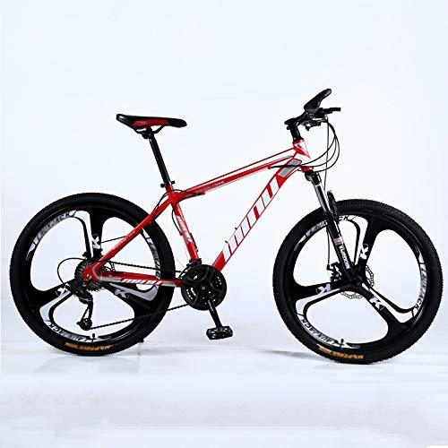 Qinmo Bicicletas 26 Pulgadas de montaña, Acero de Alto Carbono de Bicicletas de montaña Rígidas, Todo Terreno Bicicleta de montaña, Asiento Ajustable, Velocidad 3 21 Cortador