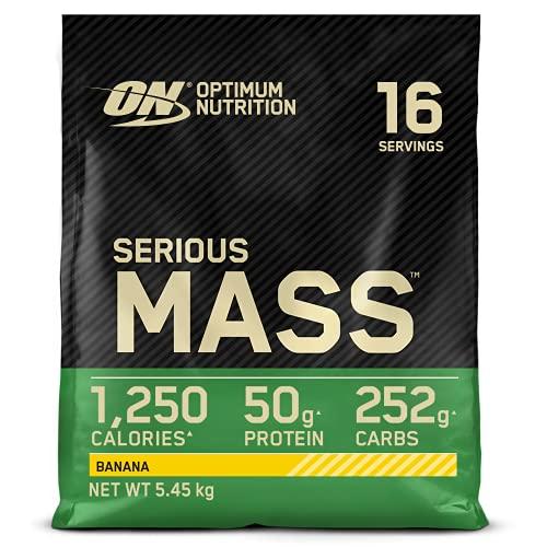 Optimum Nutrition ON Serious Mass Hochkalorisches Weight Gainer Protein Pulver mit Kohlenhydrate, Whey Protein, Vitaminen, Kreatin und Glutamin, Banana, 16 Portionen, 5,45kg