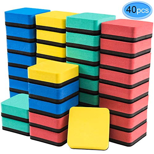 Dry Erase Erasers, 40 Pack Magnetic Whiteboard Dry Erasers Chalkboard Cleaner Wiper for Classroom Home Office, 4 Assorted Colors(Blue, Red, Green,...