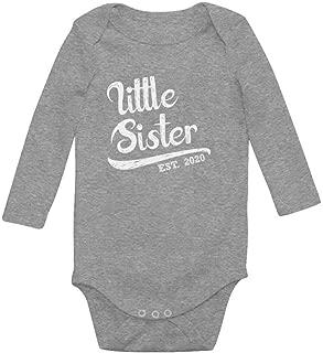 Tstars Little Sister 2020 Baby Shower Gift for Baby Girl Baby Long Sleeve Bodysuit