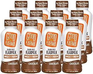 Good Karma Plant-Powered Flaxmilk, Chocolate, 10 oz Shelf-Stable Bottle (Pack of 12) Dairy-Free, Plant Based Milk Alternative