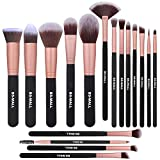 BS-MALL Makeup Brushes Premium Synthetic Foundation Powder Concealers Eye Shadow Makeup Brush Sets, Rose Golden, 17 Pcs