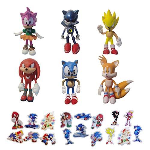 Pequeña figura de Sonic 6 unids / lote Sonic Hedgehog Hand Office Aberdeen 1.5Inch Classic Sonic Juguete coleccionable